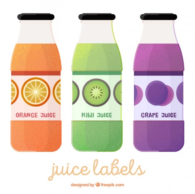 Set of three bottles with fruit juices