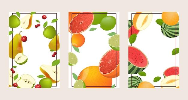 Набор из трех ярких фруктовых рамок Premium векторы