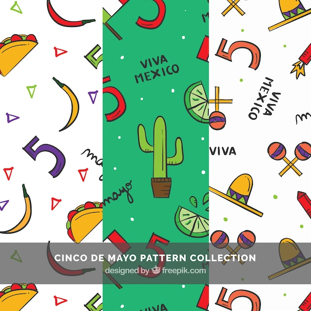 Set of three cinco de mayo patterns with hand-drawn items Free Vector
