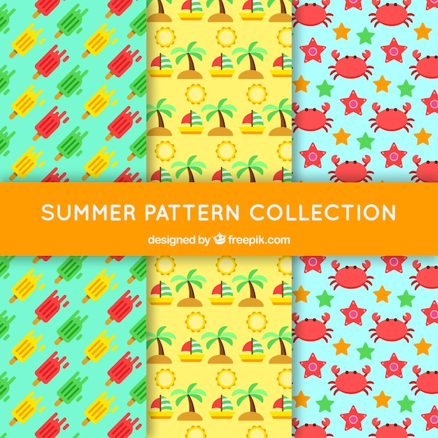 Set of three colored patterns with flat summer\ elements