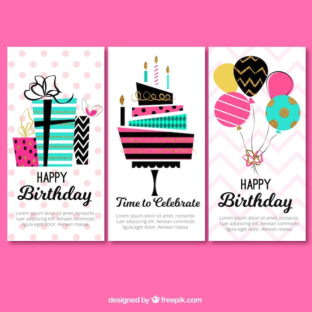 Set of three colorful birthday greetings  Free Vector