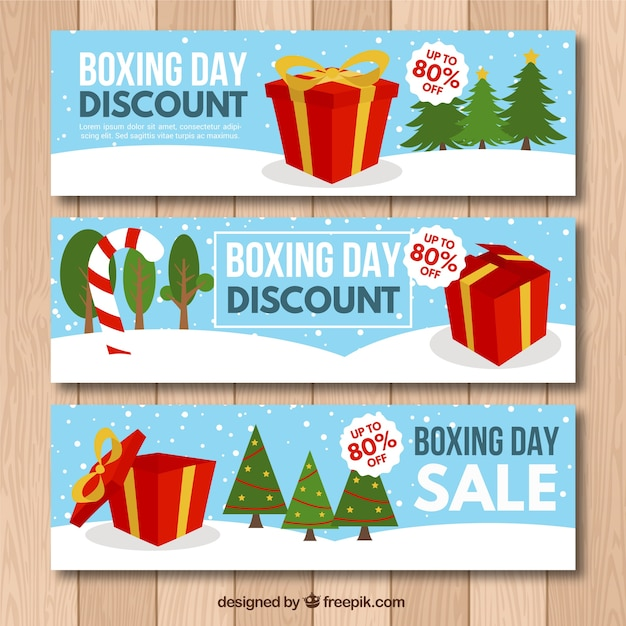 Set of three colorful boxing day banners