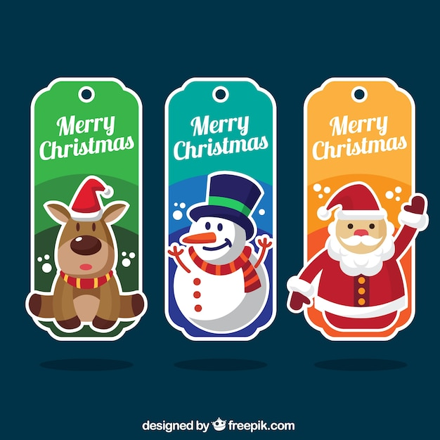 Set of three colorful labels with christmas characters Free Vector