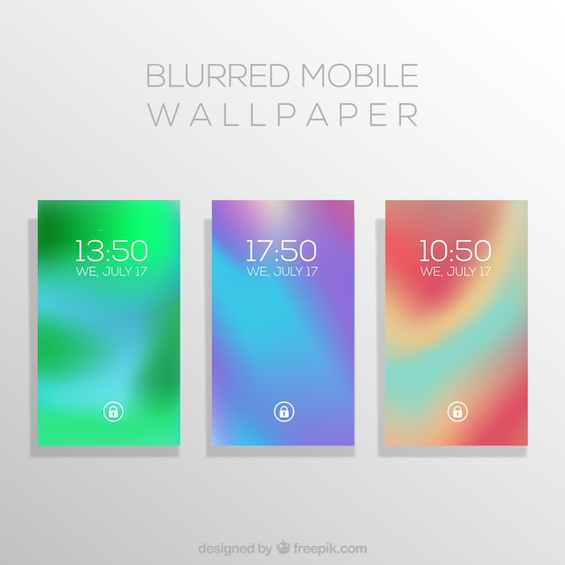 Set of three colors defocused wallpapers for mobile