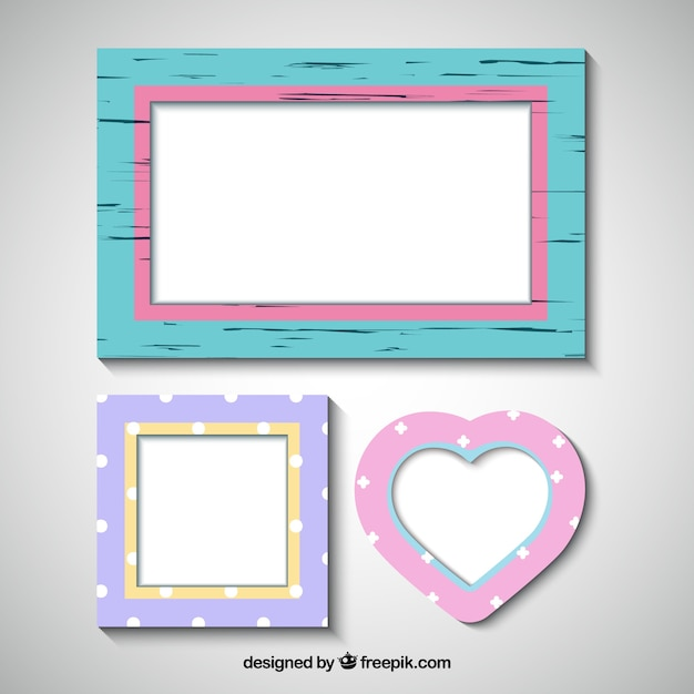 Set of three decorative photo frames Vector | Free Download