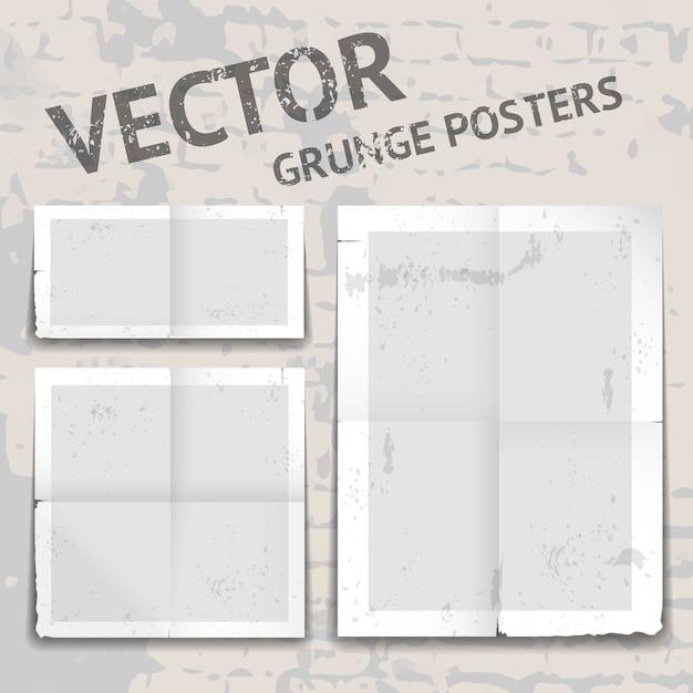 Набор из трех различных векторных гранж-постеров с рваными краями Бесплатные векторы