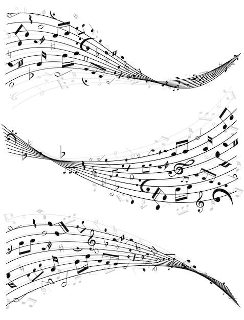 Набор из трех разных волнистых линий или нотоносцев из случайно разбросанных музыкальных нот в черно-белом Бесплатные векторы