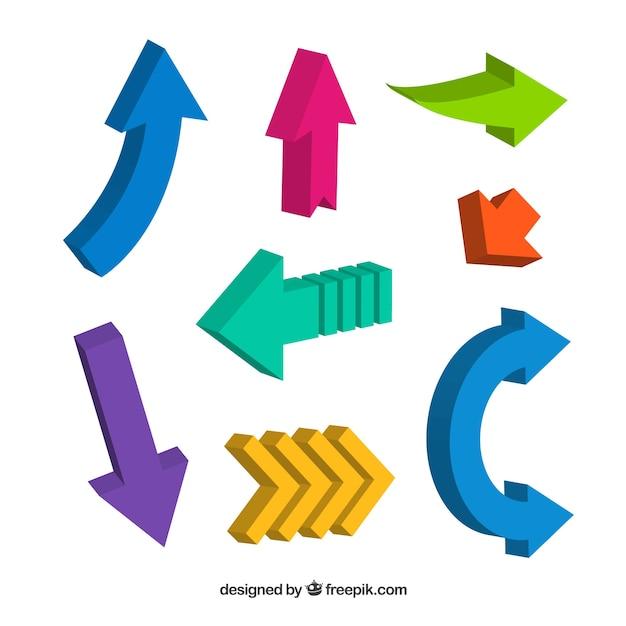 Set of three-dimensional color arrows