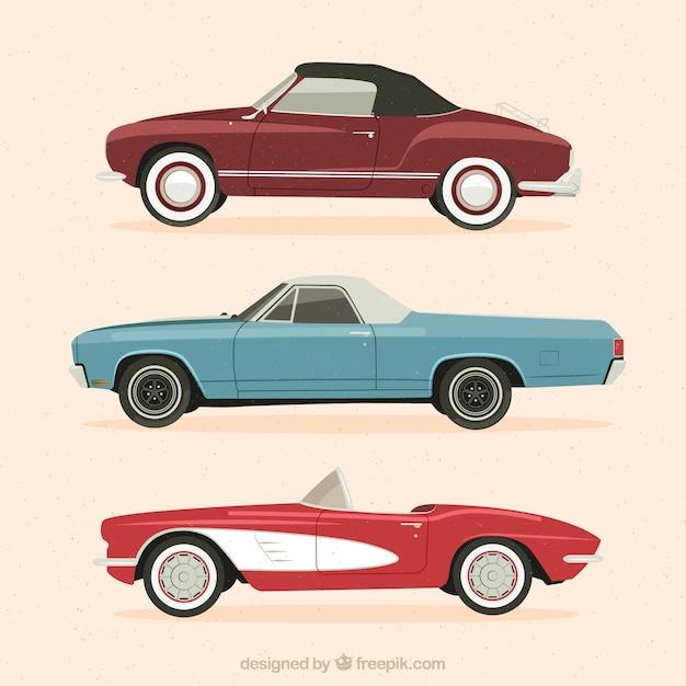 Set Of Three Elegant Vintage Cars Vector Free Download