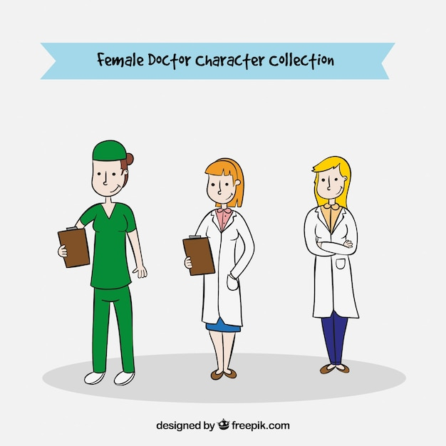 Set of three female medical characters