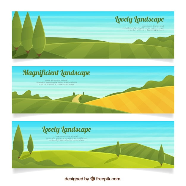 Set of three field banners with trees Free Vector