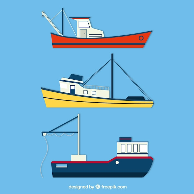 Set of three fishing boats in flat\ design