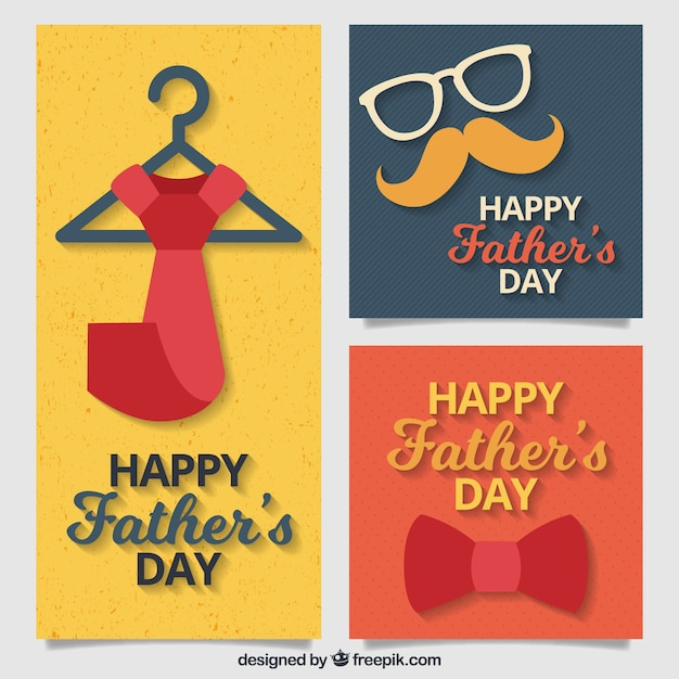 Set of three greeting cards with decorative items for fathers day set of three greeting cards with decorative items for fathers day free vector m4hsunfo