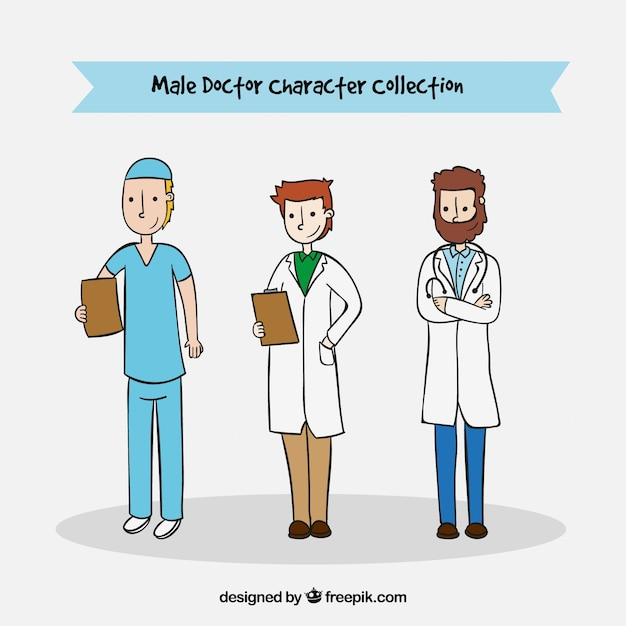 Set of three hand drawn male medical characters