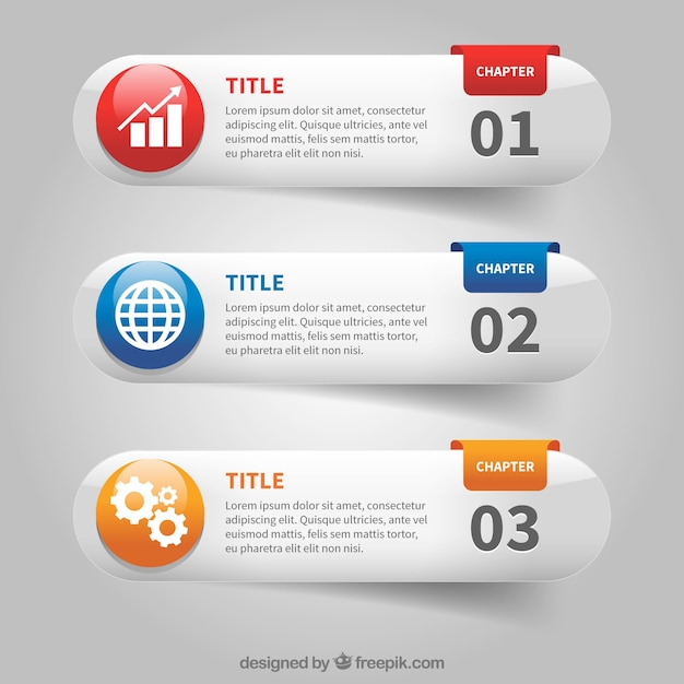 Set of three infographic banners with color details Free Vector