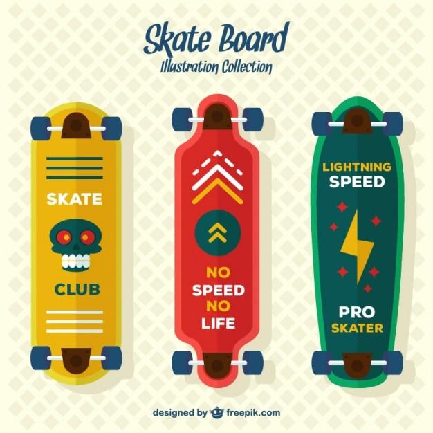 Set of three modern skateboards