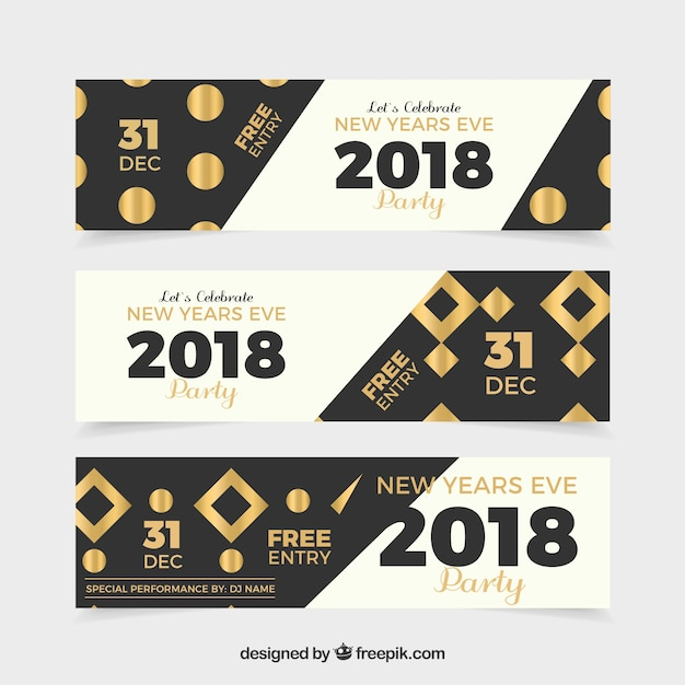 Set of three party banners for new year Vector | Free Download