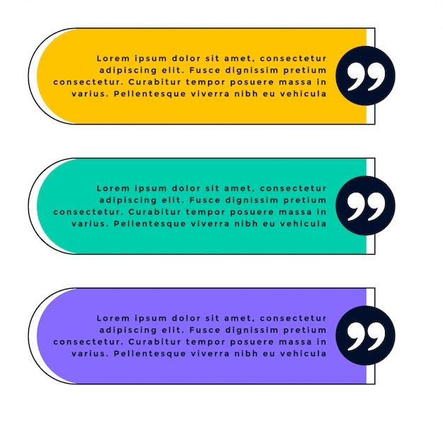 Набор из трех шаблонов цитаты в разных цветах Бесплатные векторы