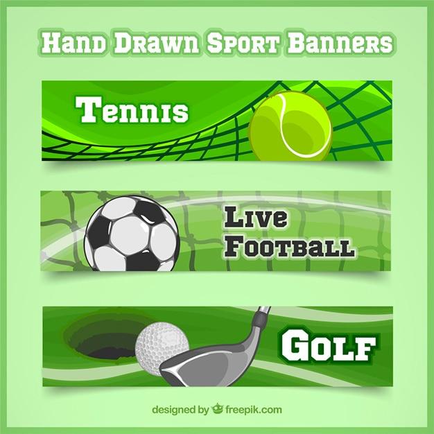 Set of three sport banners