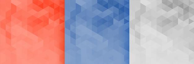 3つの三角形パターン背景のセット 無料ベクター