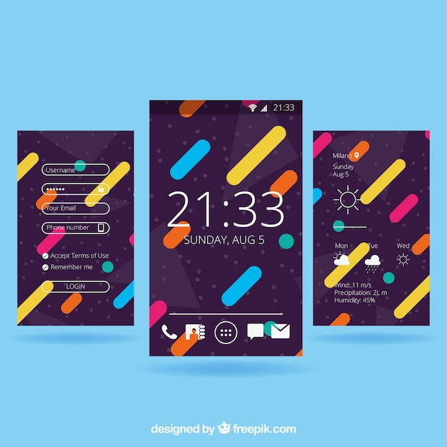 Set of three wallpapers with colored shapes in flat design for mobile