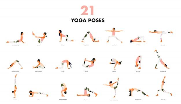 Набор крошечных женщин, выполняющих позы йоги. женщины практикуют асаны и упражнения для мышц тазового дна. плоский мультфильм на белом фоне. Premium векторы