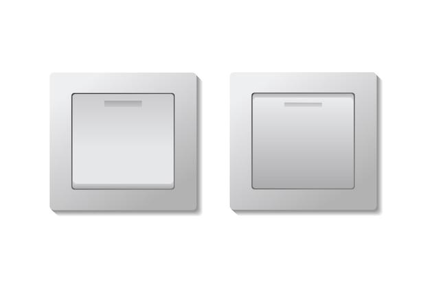 トグルライトスイッチのオンとオフのセット。 Premiumベクター