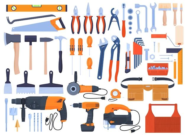 Набор инструментов, инструменты для ремонта, электроинструмент, дрель, болгарка, электролобзик. ручные инструменты, гаечные ключи, отвертки, щетки, молотки, пилы, плоскогубцы. ремонт дома. Premium векторы