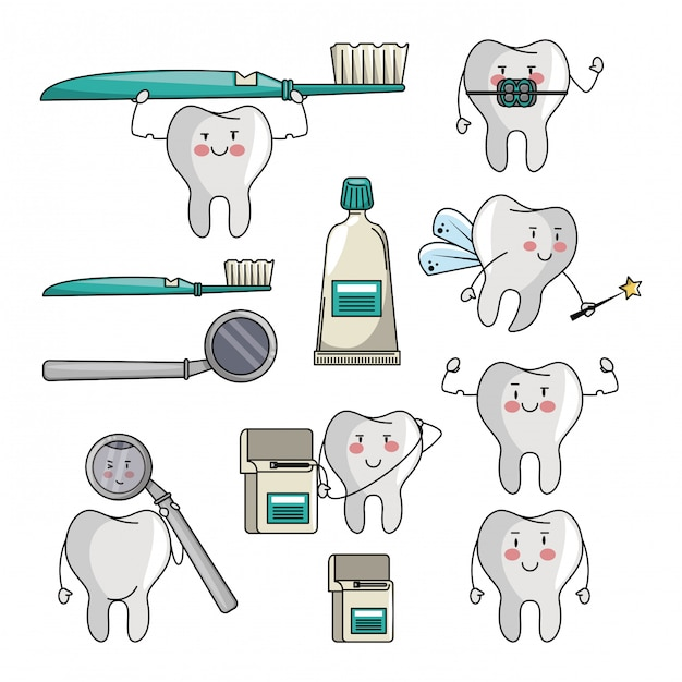 set of tooth cartoons vector premium download