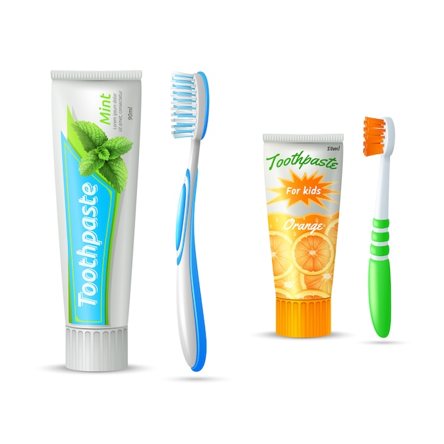 Set of toothpaste tubes and toothbrushs for\ kids and adults