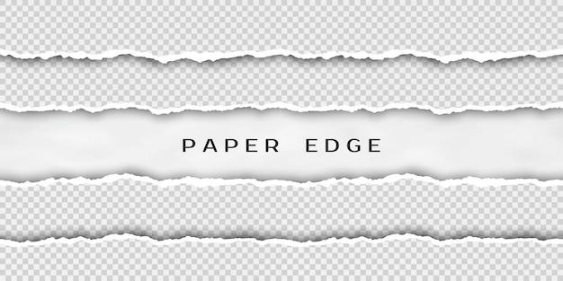 Набор рваных горизонтальных бесшовных бумажных полос Premium векторы