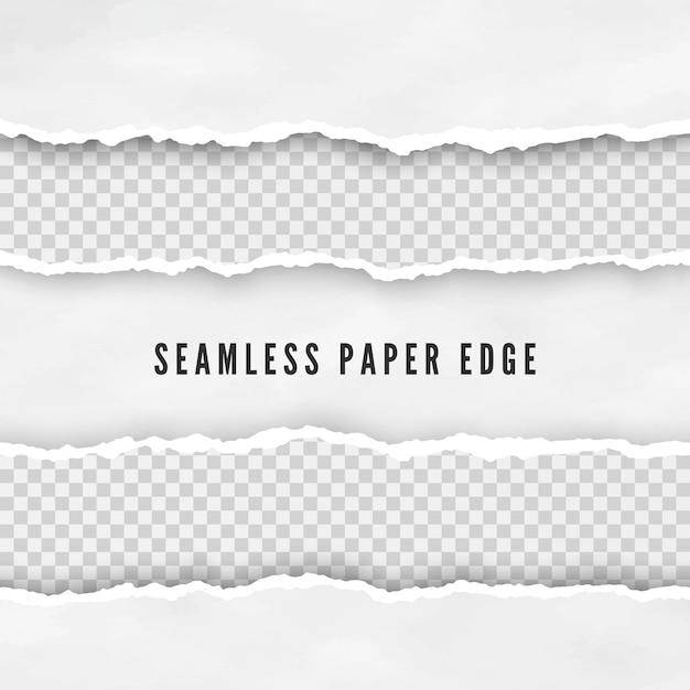 Набор рваных бесшовных бумажных границ Premium векторы