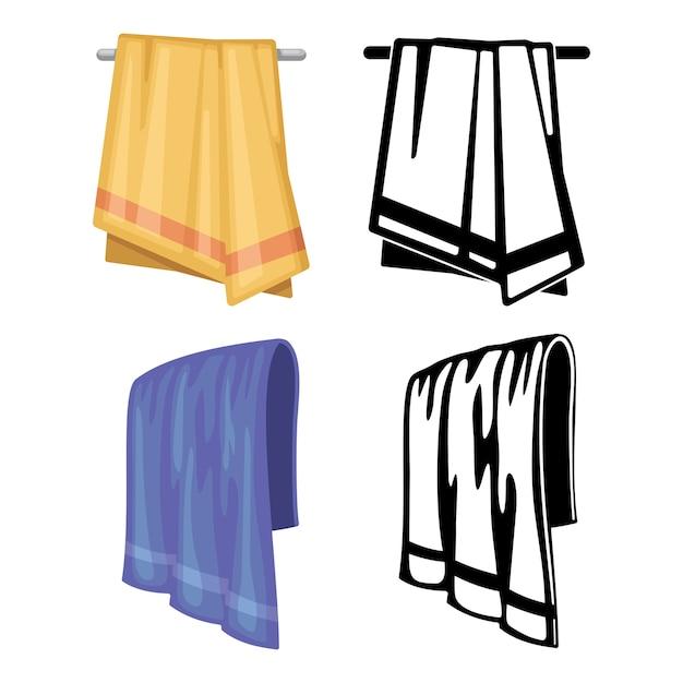 タオルのセット-白で隔離の漫画スタイルとアウトラインタオル Premiumベクター