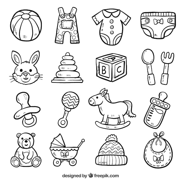 Baby Toys Drawing : Set of toys sketches and baby accessories vector free