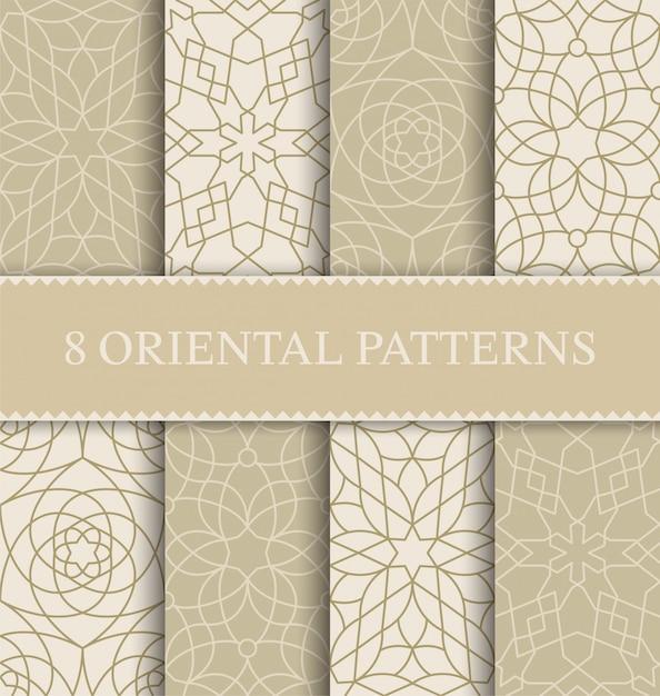 전통적인 아라비아 완벽 한 패턴의 집합 프리미엄 벡터