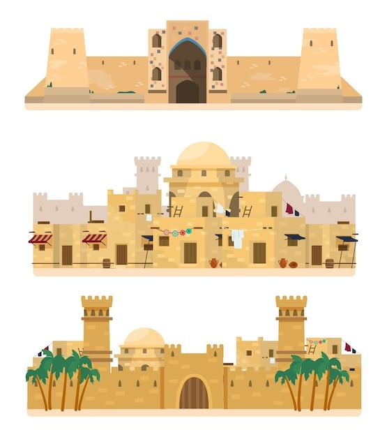 전통 건축의 집합입니다. Caravanserai, 고대 마을, 성. 진흙 벽돌 건물. 프리미엄 벡터