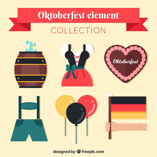 Set of traditional costumes and oktoberfest elements in flat design