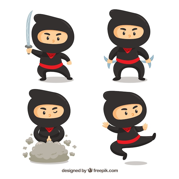 Set of traditional ninja character with flat\ design