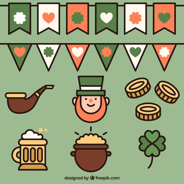 Set of traditional saint patrick elements and garlands