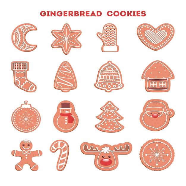 Набор традиционного сладкого испеченного рождественского печенья. пряники на праздничный стол. вкусный десерт. иллюстрация Premium векторы