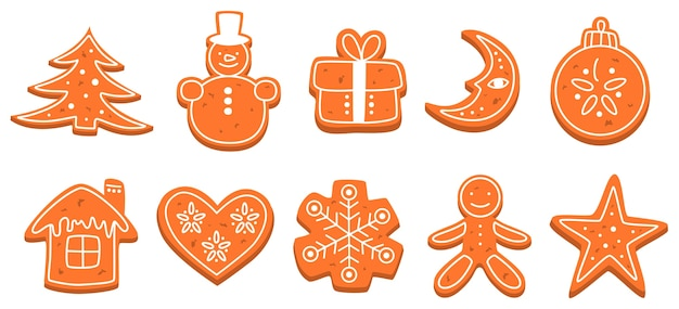 Набор традиционного сладкого испеченного рождественского печенья. пряники на праздничный стол. вкусный десерт. изолированные плоские векторные иллюстрации Premium векторы