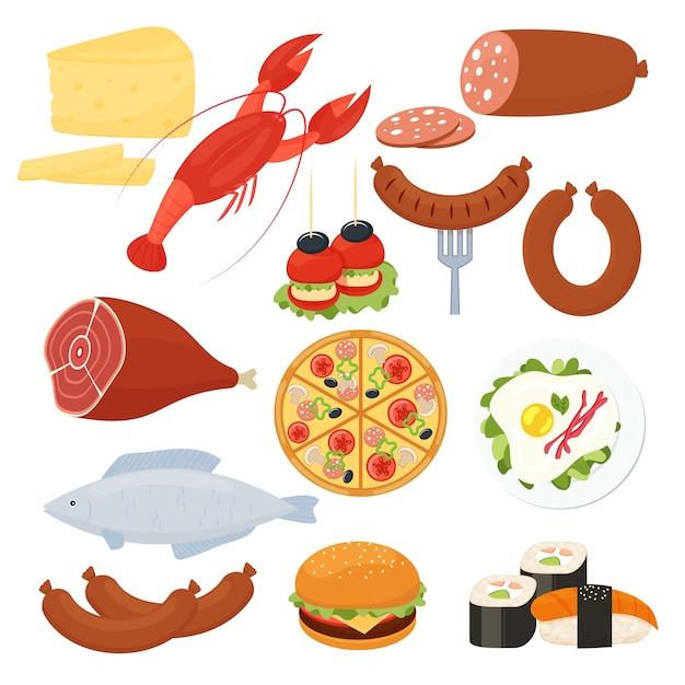 Набор традиционных векторных иконок еды для меню с лобстером, салями, пиццей, чизбургером, жареным мясом, яичницей, колбасой, рыбой, суши, морепродуктами, сыром и канапе, закусками Бесплатные векторы