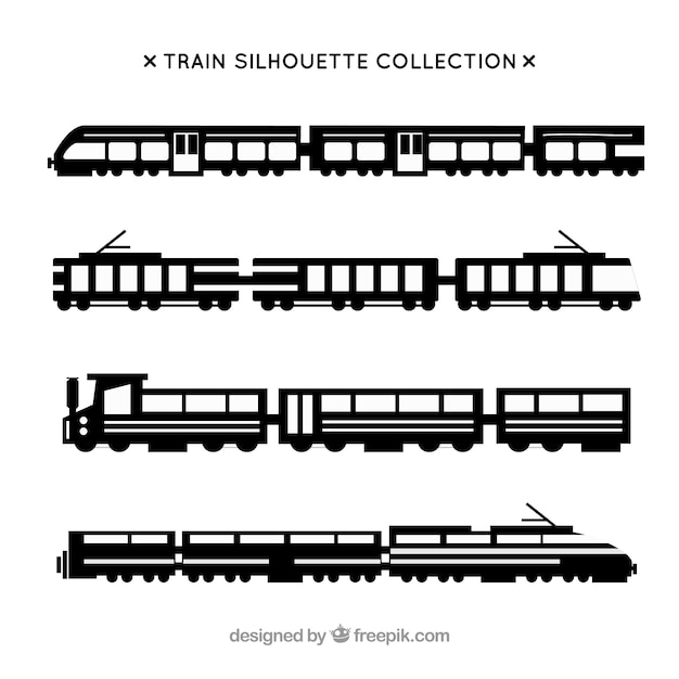 Set of train silhouettes