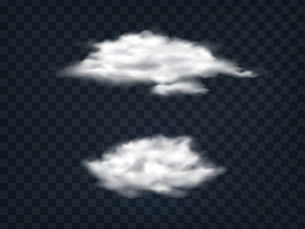 Set of translucent white clouds. Free Vector