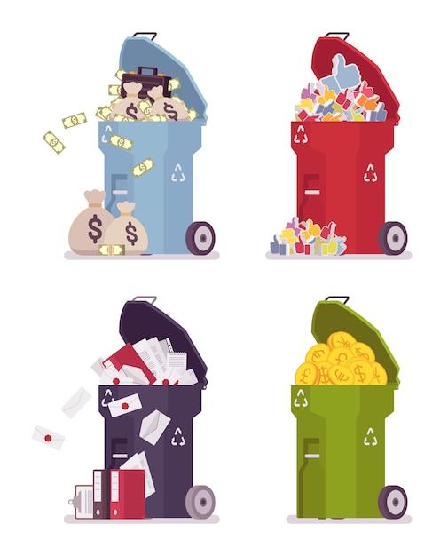 ゴミ箱のセット Premiumベクター