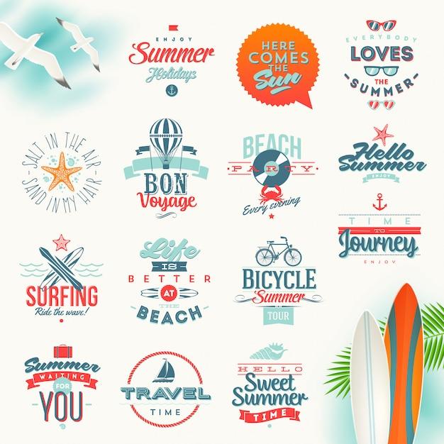 Набор путешествий и летних каникул типографии. надписи эмблемы и логотипа Premium векторы