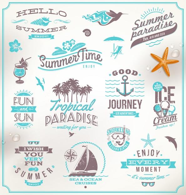 Набор эмблем путешествий и отдыха, логотипов и символов Premium векторы