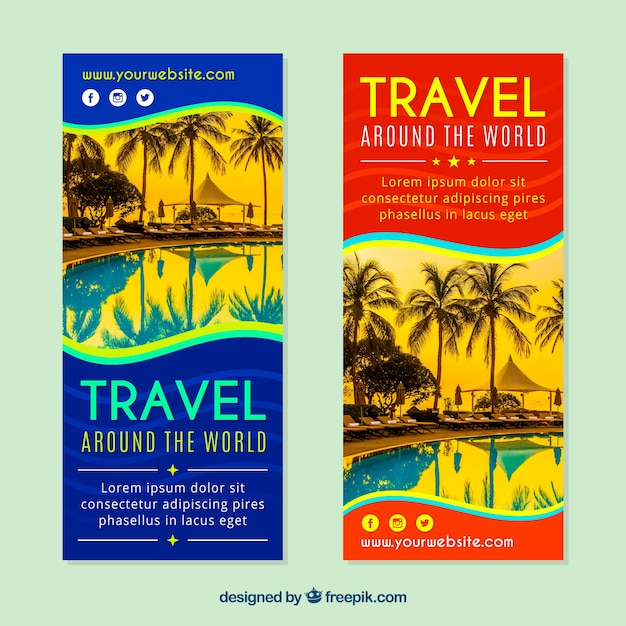 Set of travel banners with photography Free Vector