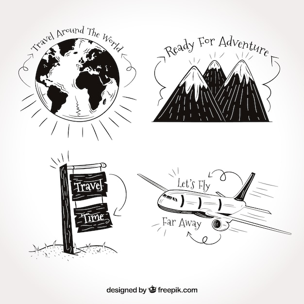 set of travel drawings with phrases vector free download