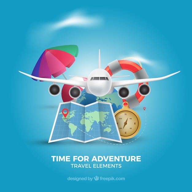 Set of travel elements in realistic style Free Vector